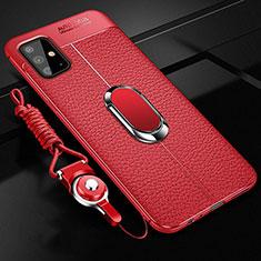Silikon Hülle Handyhülle Gummi Schutzhülle Flexible Leder Tasche mit Magnetisch Fingerring Ständer T01 für Samsung Galaxy A51 5G Rot