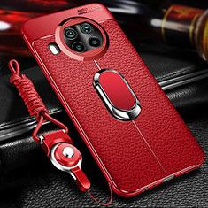 Silikon Hülle Handyhülle Gummi Schutzhülle Flexible Leder Tasche mit Magnetisch Fingerring Ständer T01 für Xiaomi Mi 10T Lite 5G Rot