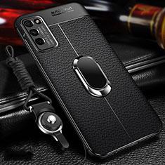 Silikon Hülle Handyhülle Gummi Schutzhülle Flexible Leder Tasche mit Magnetisch Fingerring Ständer T02 für Huawei Honor 30 Lite 5G Schwarz