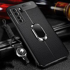Silikon Hülle Handyhülle Gummi Schutzhülle Flexible Leder Tasche mit Magnetisch Fingerring Ständer T02 für Huawei P40 Lite 5G Schwarz