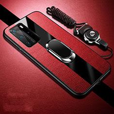 Silikon Hülle Handyhülle Gummi Schutzhülle Flexible Leder Tasche mit Magnetisch Fingerring Ständer T02 für Huawei P40 Pro Rot
