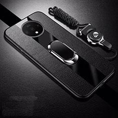Silikon Hülle Handyhülle Gummi Schutzhülle Flexible Leder Tasche mit Magnetisch Fingerring Ständer T02 für OnePlus 7T Schwarz
