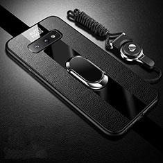 Silikon Hülle Handyhülle Gummi Schutzhülle Flexible Leder Tasche mit Magnetisch Fingerring Ständer T02 für Samsung Galaxy S10e Schwarz