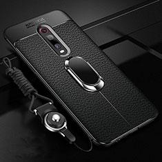 Silikon Hülle Handyhülle Gummi Schutzhülle Flexible Leder Tasche mit Magnetisch Fingerring Ständer T02 für Xiaomi Mi 9T Pro Schwarz