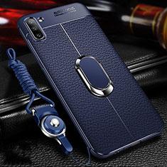 Silikon Hülle Handyhülle Gummi Schutzhülle Flexible Leder Tasche mit Magnetisch Fingerring Ständer T03 für Samsung Galaxy Note 10 5G Blau