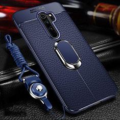 Silikon Hülle Handyhülle Gummi Schutzhülle Flexible Leder Tasche mit Magnetisch Fingerring Ständer T03 für Xiaomi Redmi Note 8 Pro Blau