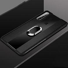 Silikon Hülle Handyhülle Gummi Schutzhülle Flexible Leder Tasche mit Magnetisch Fingerring Ständer T03 für Xiaomi Redmi Note 8 Schwarz