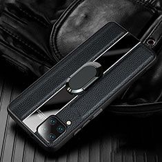 Silikon Hülle Handyhülle Gummi Schutzhülle Flexible Leder Tasche mit Magnetisch Fingerring Ständer T04 für Huawei P40 Lite Schwarz