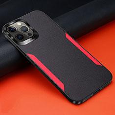 Silikon Hülle Handyhülle Gummi Schutzhülle Flexible Leder Tasche N01 für Apple iPhone 12 Pro Schwarz