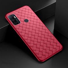 Silikon Hülle Handyhülle Gummi Schutzhülle Flexible Leder Tasche S01 für Oppo A53s Rot