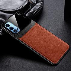 Silikon Hülle Handyhülle Gummi Schutzhülle Flexible Leder Tasche S01 für Oppo Reno4 5G Braun