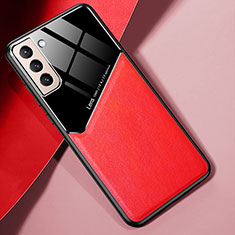 Silikon Hülle Handyhülle Gummi Schutzhülle Flexible Leder Tasche S01 für Samsung Galaxy S21 Plus 5G Rot