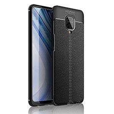 Silikon Hülle Handyhülle Gummi Schutzhülle Flexible Leder Tasche S01 für Xiaomi Redmi Note 9 Pro Schwarz