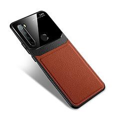 Silikon Hülle Handyhülle Gummi Schutzhülle Flexible Leder Tasche S02 für Xiaomi Redmi Note 8T Braun