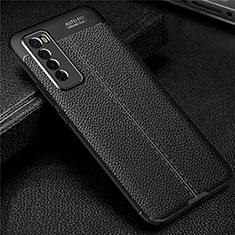 Silikon Hülle Handyhülle Gummi Schutzhülle Flexible Leder Tasche S03 für Huawei Nova 7 5G Schwarz