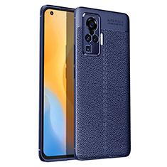 Silikon Hülle Handyhülle Gummi Schutzhülle Flexible Leder Tasche S03 für Vivo X50 Pro 5G Blau