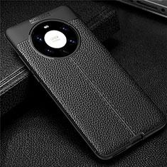 Silikon Hülle Handyhülle Gummi Schutzhülle Flexible Leder Tasche U01 für Huawei Mate 40 Pro+ Plus Schwarz