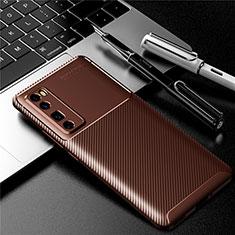 Silikon Hülle Handyhülle Gummi Schutzhülle Flexible Tasche Köper für Huawei Nova 7 Pro 5G Braun