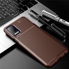 Silikon Hülle Handyhülle Gummi Schutzhülle Flexible Tasche Köper für LG K52 Braun