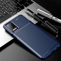 Silikon Hülle Handyhülle Gummi Schutzhülle Flexible Tasche Köper für LG Q52 Blau