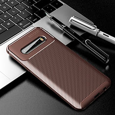 Silikon Hülle Handyhülle Gummi Schutzhülle Flexible Tasche Köper für LG V60 ThinQ 5G Braun