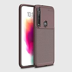 Silikon Hülle Handyhülle Gummi Schutzhülle Flexible Tasche Köper für Motorola Moto G8 Plus Braun