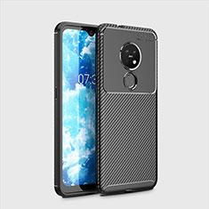 Silikon Hülle Handyhülle Gummi Schutzhülle Flexible Tasche Köper für Nokia 7.2 Schwarz