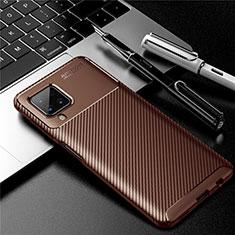 Silikon Hülle Handyhülle Gummi Schutzhülle Flexible Tasche Köper für Samsung Galaxy A12 Braun