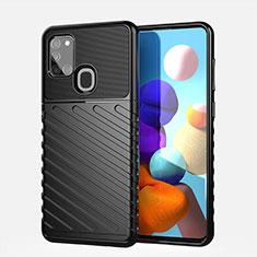 Silikon Hülle Handyhülle Gummi Schutzhülle Flexible Tasche Köper für Samsung Galaxy A21s Schwarz