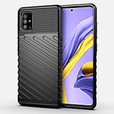 Silikon Hülle Handyhülle Gummi Schutzhülle Flexible Tasche Köper für Samsung Galaxy A51 4G Schwarz