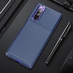 Silikon Hülle Handyhülle Gummi Schutzhülle Flexible Tasche Köper für Sony Xperia 5 Blau