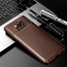 Silikon Hülle Handyhülle Gummi Schutzhülle Flexible Tasche Köper für Xiaomi Poco X3 NFC Braun