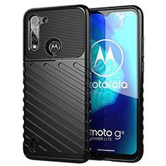 Silikon Hülle Handyhülle Gummi Schutzhülle Flexible Tasche Köper S01 für Motorola Moto G8 Power Lite Schwarz