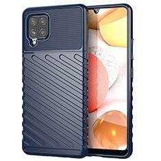 Silikon Hülle Handyhülle Gummi Schutzhülle Flexible Tasche Köper S01 für Samsung Galaxy A42 5G Blau