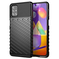 Silikon Hülle Handyhülle Gummi Schutzhülle Flexible Tasche Köper S01 für Samsung Galaxy M31s Schwarz