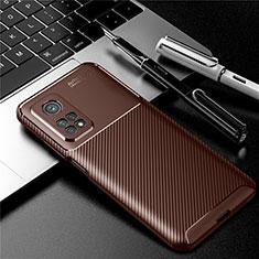 Silikon Hülle Handyhülle Gummi Schutzhülle Flexible Tasche Köper S01 für Xiaomi Mi 10T 5G Braun