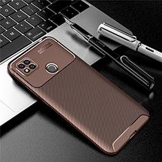Silikon Hülle Handyhülle Gummi Schutzhülle Flexible Tasche Köper S01 für Xiaomi Redmi 9 India Braun