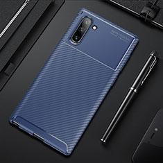 Silikon Hülle Handyhülle Gummi Schutzhülle Flexible Tasche Köper Y01 für Samsung Galaxy Note 10 5G Blau