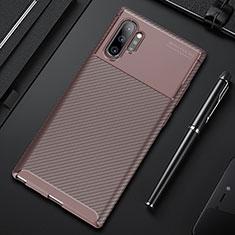 Silikon Hülle Handyhülle Gummi Schutzhülle Flexible Tasche Köper Y01 für Samsung Galaxy Note 10 Plus 5G Braun