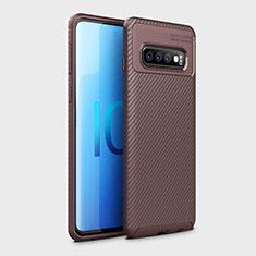 Silikon Hülle Handyhülle Gummi Schutzhülle Flexible Tasche Köper Y01 für Samsung Galaxy S10 Braun