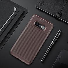 Silikon Hülle Handyhülle Gummi Schutzhülle Flexible Tasche Köper Y01 für Samsung Galaxy S10e Braun
