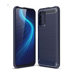 Silikon Hülle Handyhülle Gummi Schutzhülle Flexible Tasche Line C01 für Huawei Honor X10 5G Blau