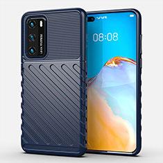 Silikon Hülle Handyhülle Gummi Schutzhülle Flexible Tasche Line C01 für Huawei P40 Blau