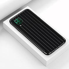 Silikon Hülle Handyhülle Gummi Schutzhülle Flexible Tasche Line C01 für Huawei P40 Lite Schwarz