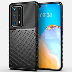 Silikon Hülle Handyhülle Gummi Schutzhülle Flexible Tasche Line C01 für Huawei P40 Pro+ Plus Schwarz