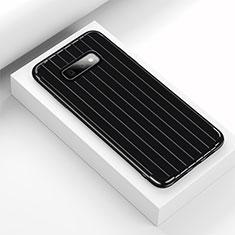 Silikon Hülle Handyhülle Gummi Schutzhülle Flexible Tasche Line C01 für Samsung Galaxy S10e Schwarz