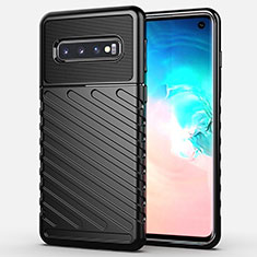 Silikon Hülle Handyhülle Gummi Schutzhülle Flexible Tasche Line C02 für Samsung Galaxy S10 5G Schwarz