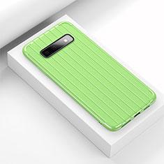 Silikon Hülle Handyhülle Gummi Schutzhülle Flexible Tasche Line C02 für Samsung Galaxy S10 Plus Grün