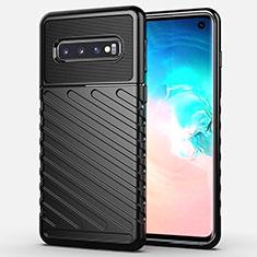 Silikon Hülle Handyhülle Gummi Schutzhülle Flexible Tasche Line C02 für Samsung Galaxy S10 Schwarz