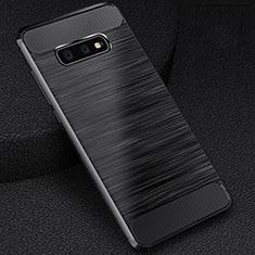 Silikon Hülle Handyhülle Gummi Schutzhülle Flexible Tasche Line C02 für Samsung Galaxy S10e Schwarz